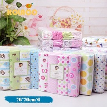 4 pcs/lot baby bed sheet 100% cotton 76*76cm size infant cot crib sheet girl boy baby bedding set newborns receiving blanket