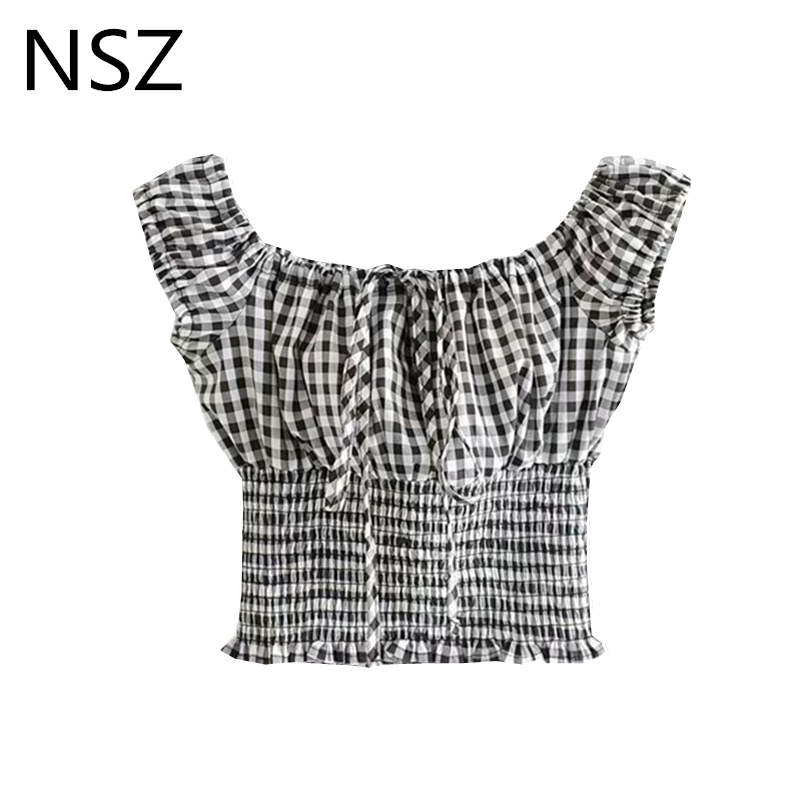 NSZ Women Black and White Checkered Top Plaid Crop Top Summer Short Sleeve Off Shoulder   Blouse     Shirt   Ladies Holiday Top