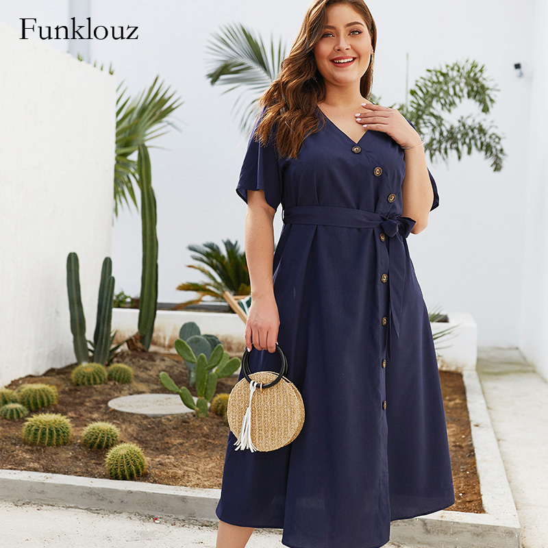 Funklouz Plus Size Wrap Solid Button V Neck Dress Summer Holiday Elegant Sashes Office Lady Dresses Vintage Simple Sukienka in Dresses from Women 39 s Clothing