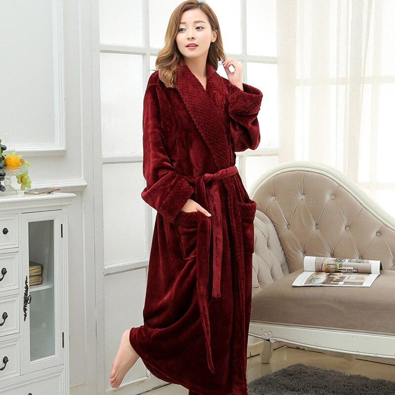 Warm Female Winter Thick Flannel Bathrobel Hot Sale Coral Fleece Long Plus-size Robes Wo ...