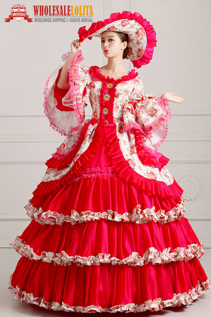 60814645aaa94 US $120.0 |HOT!! Global FreeShipping 18th Century Marie Antoinette  Renaissance Victorian Period Rococo Belle Prom Party Red Gowns Dress-in  Dresses ...