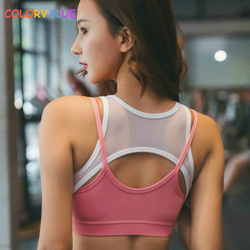 c322deae26 Colorvalue New Contrast Color Fitness Gym Bra Women Mid Support Push Up Athletic  Sport Bra Top