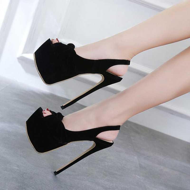 2019 Yeni Stil Sıcak Kadın Moda Seksi 16 cm Yüksek Topuk Mizaç Balık Ağız Ayakkabı Kadın tek ayakkabı Platformu