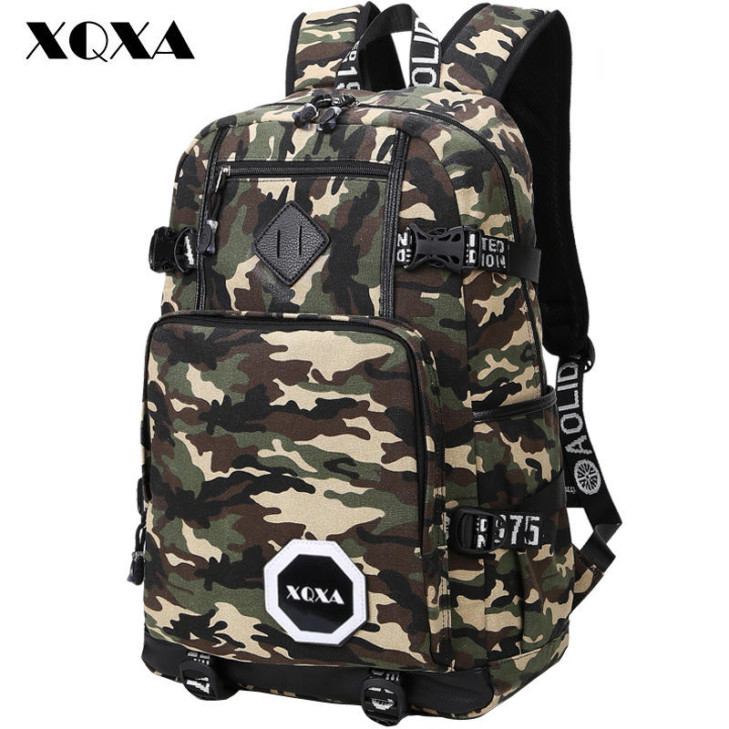 ФОТО XQXA Camo Backpack Men Preppy Style School Backpacks for Boy Girl Teenagers High School Middle School Bags Large Capacity