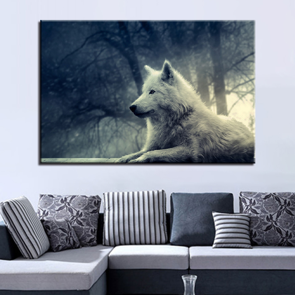 Artwork Poster HD Prints Home Decoration 1 Pieces Animal Wall Art Wolf Modular Pictures For Living Room Bedroom Canvas Painting