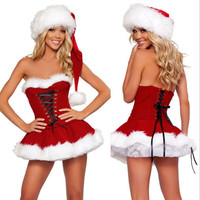 2017 Fashion Women Dress Sexy Red Santa Claus for Adults