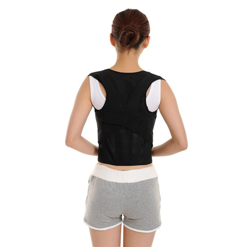 Black Adjustable Corset Back Posture Corrector Back Shoulder Lumbar Brace Spine Support Belt Posture Correction For Men Women Z3 free size o x form legs posture corrector belt braces