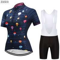 ZASUO Women balloon Bicycle Short Sleeve Jersey Maillot Ropa Ciclismo Anti-Pilling Cycling Jersey GEL Breathable Pad Bib short