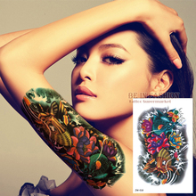 Color Fish Tattoo Stickers Flower Arm Tattoos Waterproof Temporary Tatoo Fake For Women Men Shoulder Body Big 19x12cm ZW018