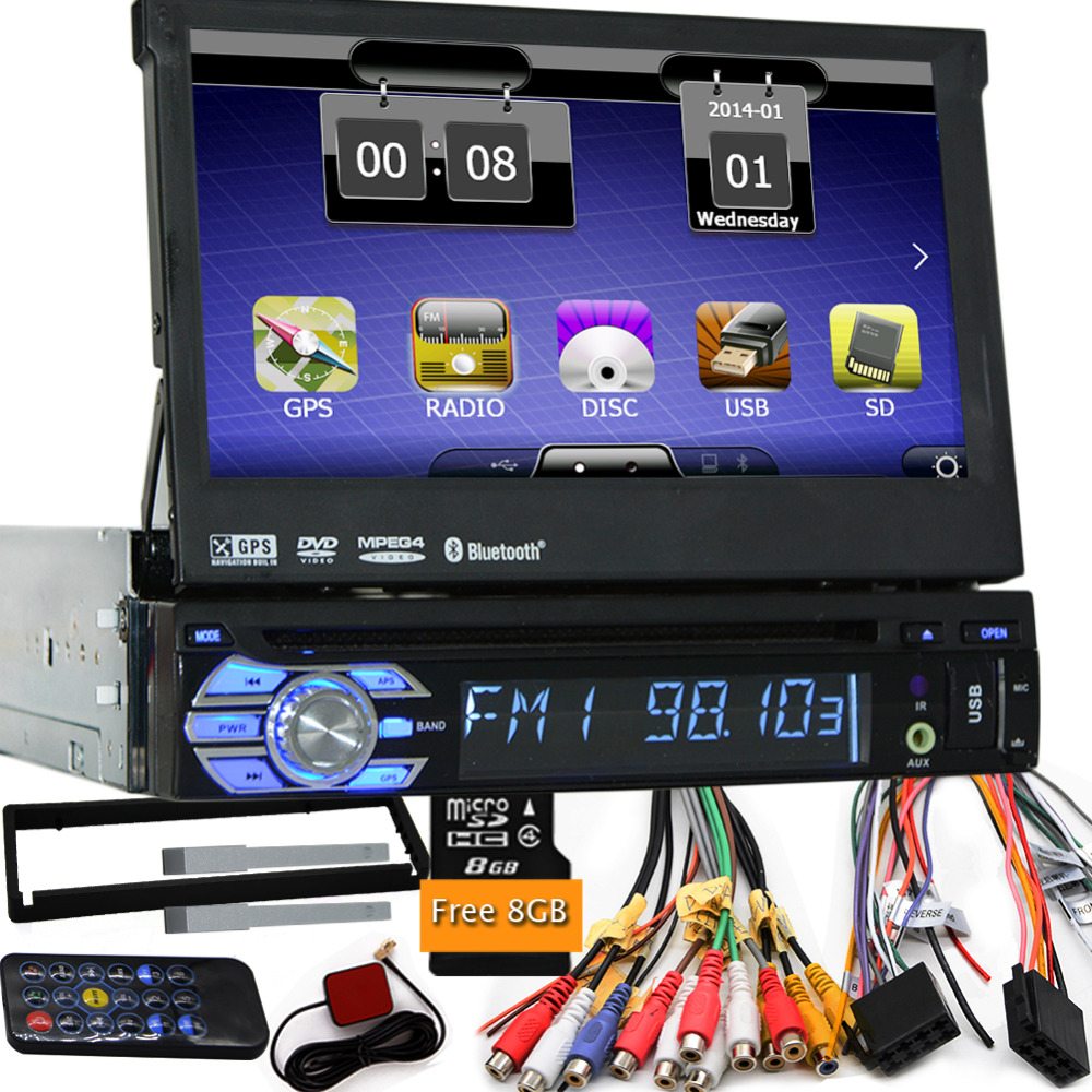 7&#8243; 1 Din WCE Car DVD Player GPS Navigation Universal In-dash Detachable Front Panel Auto Radio Audio Stereo without <font><b>TV</b></font> Function