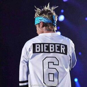 Image 2 - 저스틴 Bieber 번호 6 하키 저지 슬리브 목적 투어 단어 자수 흰색 느슨한 긴 소매