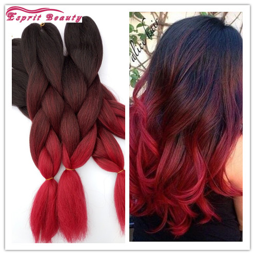 Wine Red Ombre Kanekalon Braiding Hair Braid 100g Piece Synthetic