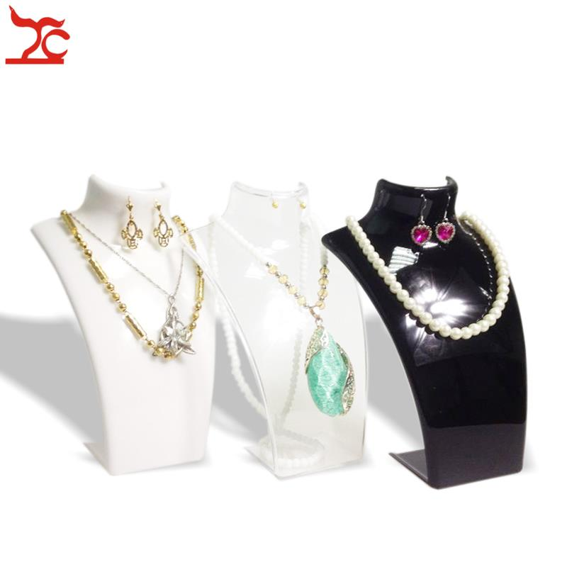 One Piece Jewelry Display Bust Black White Clear Acrylic Jewelry Mannequin Necklace Holder Earring Jewelry Display Stand 21cm