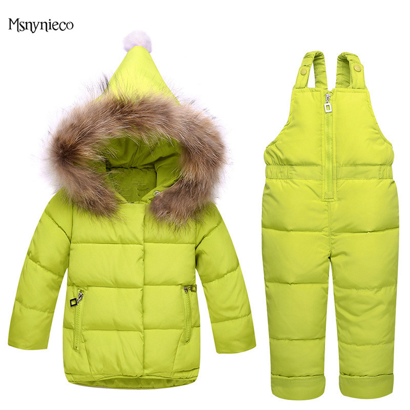 Kids Down Suits 2018 Brand Winter Baby Girls Clothing Sets Infant Toddler Down Jacket Warm Children Outerwear+Jumpsuit Snowsuit infant snowsuit new toddler boys girls winter suits thermal down jacket thickening jumpsuit fur collar baby snow wear