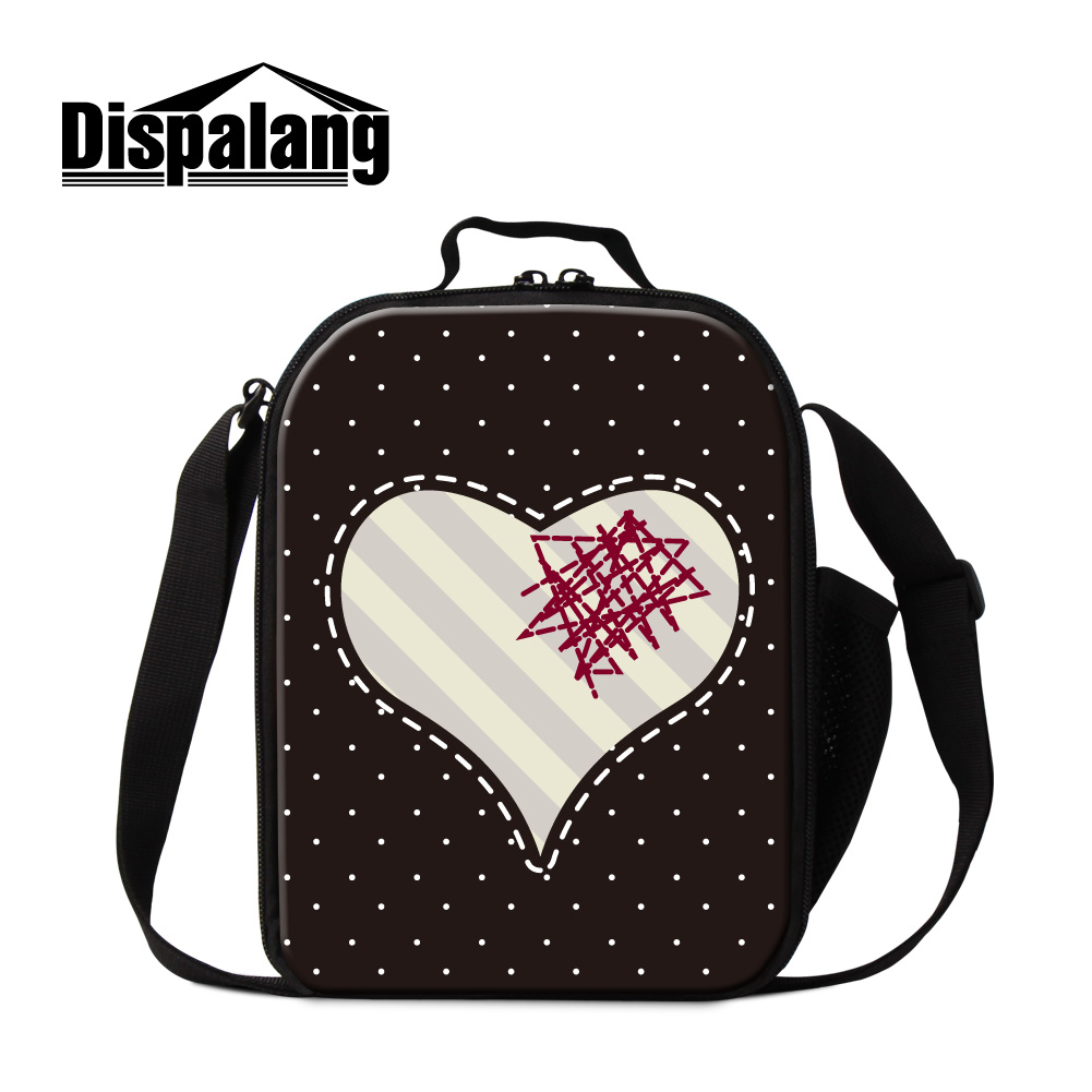 Dispalang cute cartoon love print lunch bags for kids insulated cooler bags for girls thermal food bag for women adults meal bag