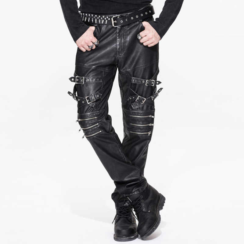 2018 Devil Fashion Autumn Winter Steampunk Vintage Men Black PU Leather Pants Gothic Rock Punk Casual Fitted Trousers