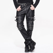 b650918345737 2018 Devil Fashion Autumn Winter Steampunk Vintage Men Black PU Leather  Pants Gothic Rock Punk Casual Fitted Trousers