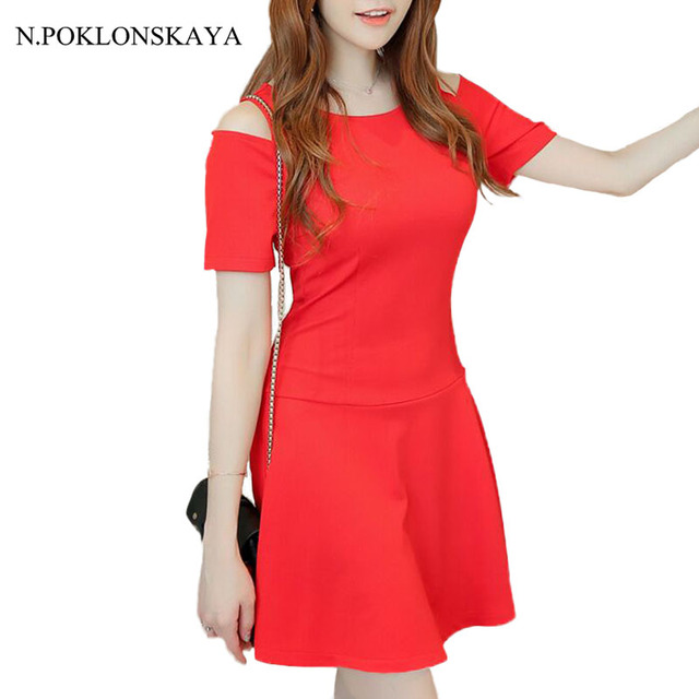 N.POKLONSKAYA 2017 Women summer Dress Spaghetti Strap Off The Shoulder  Frill Dresses Red Black Party Celebrity Mini Dress DK06 ad9fff24d
