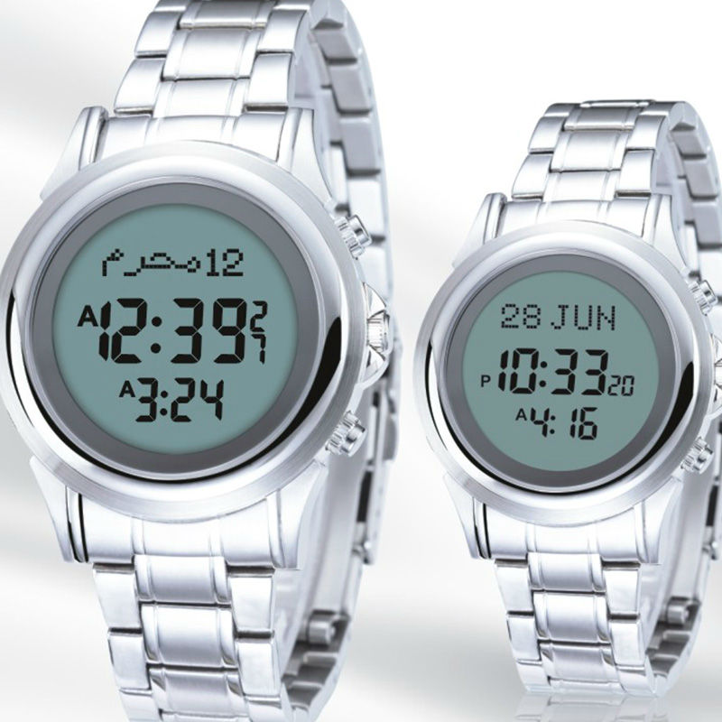 Azan Watch for Muslim English / Arabic Islamic Product Prayer time Muslim watches with Gift box Azan Clock analog watch