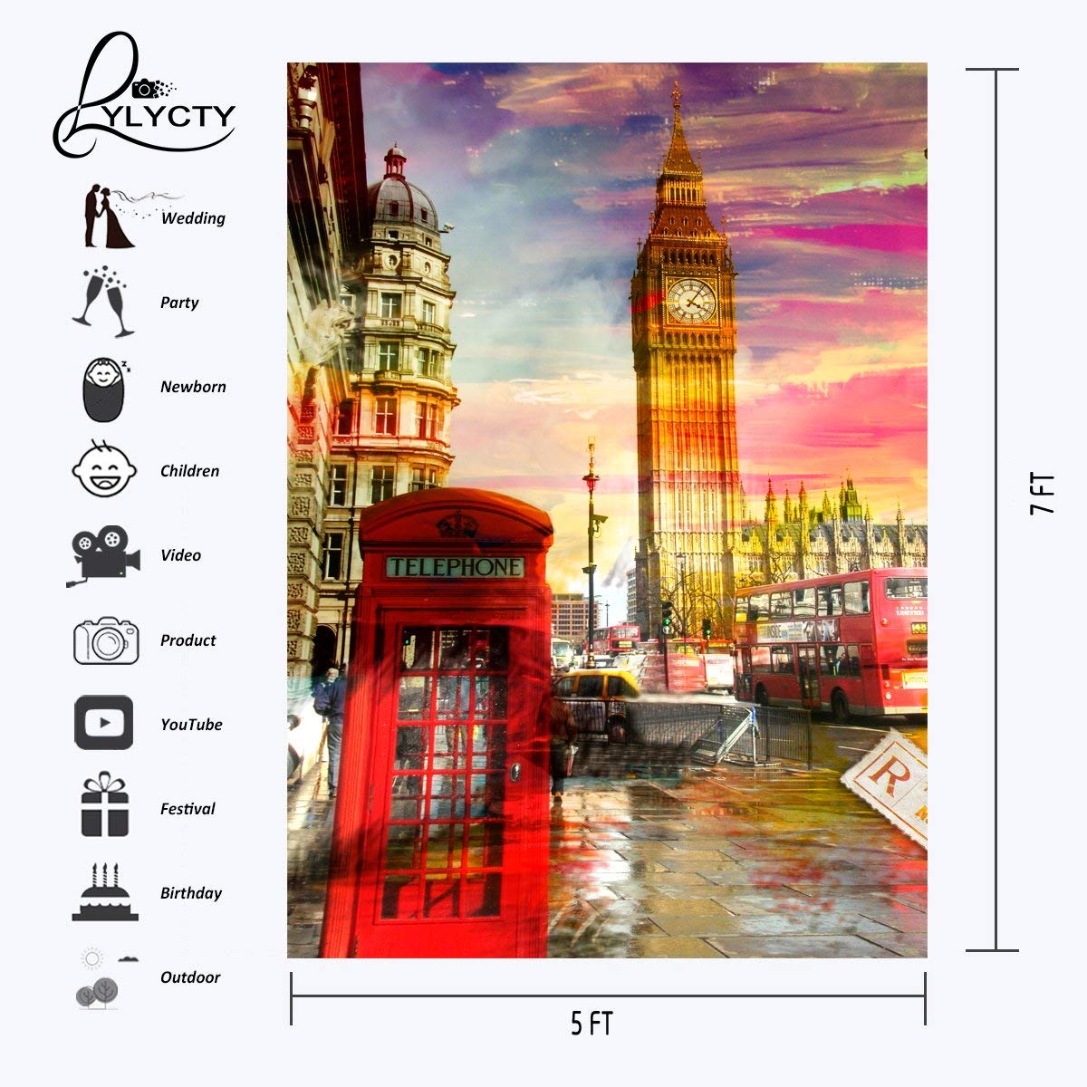 150x220cm Bustling Street Scene Backdrop Red Phone Booth Photography Background Studio Props in Photo Studio Accessories from Consumer Electronics