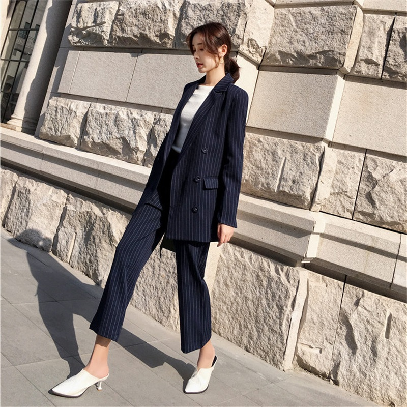 New womens OL fashion elegant Loose stripe Slim double-breasted Suits professional suit female suit two-piece Long Pant Suits