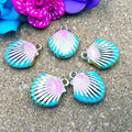 18*15MM Rainbow Colorful Alloy Sea Shell Charm Pendants Gold Double Faces Enamel Metal DIY Jewelry Ornament Bracelet Charms 6pcs