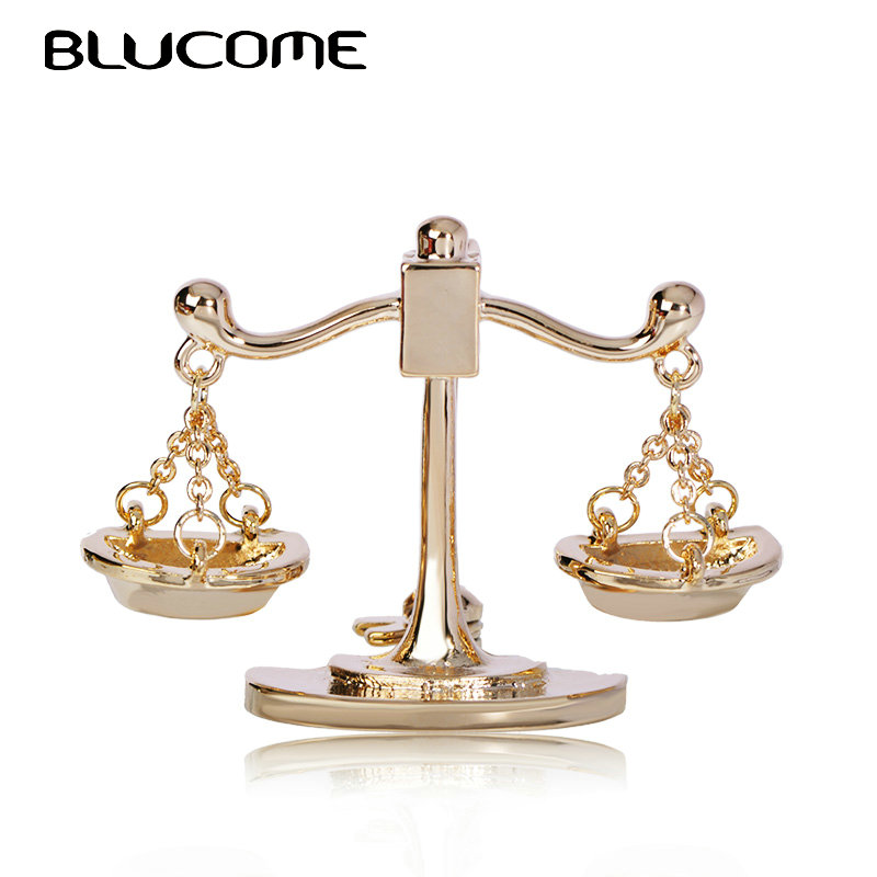 Blucome Trendy Balance Brooch Gold Color Jewelry For Women's Children Clothing Backpack Scarf Suit Pins Constellation Badge Gift