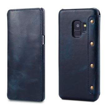 אמיתי אמיתי עור S9PLUS מקרה ארנק Flip מקרי כיסוי עבור סמסונג גלקסי S9 בתוספת S 9 מקרי טלפון כרטיס מחזיק רטרו בציר