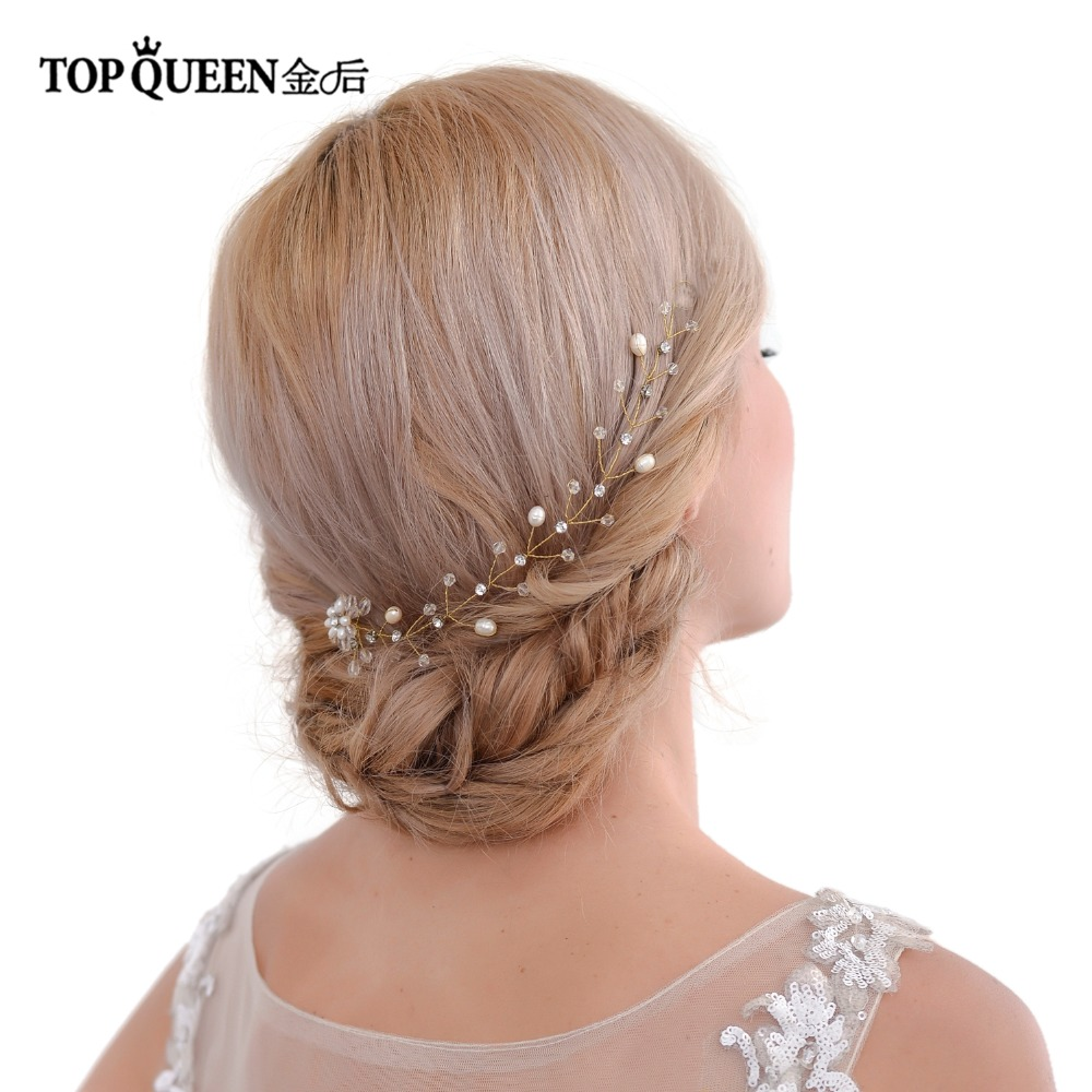 TOPQUEEN HP35 Stock Headpiece Wedding With Crystal Gold And Silver Colors Headpiece Wedding Hair Women Elegant Bridal Heddress