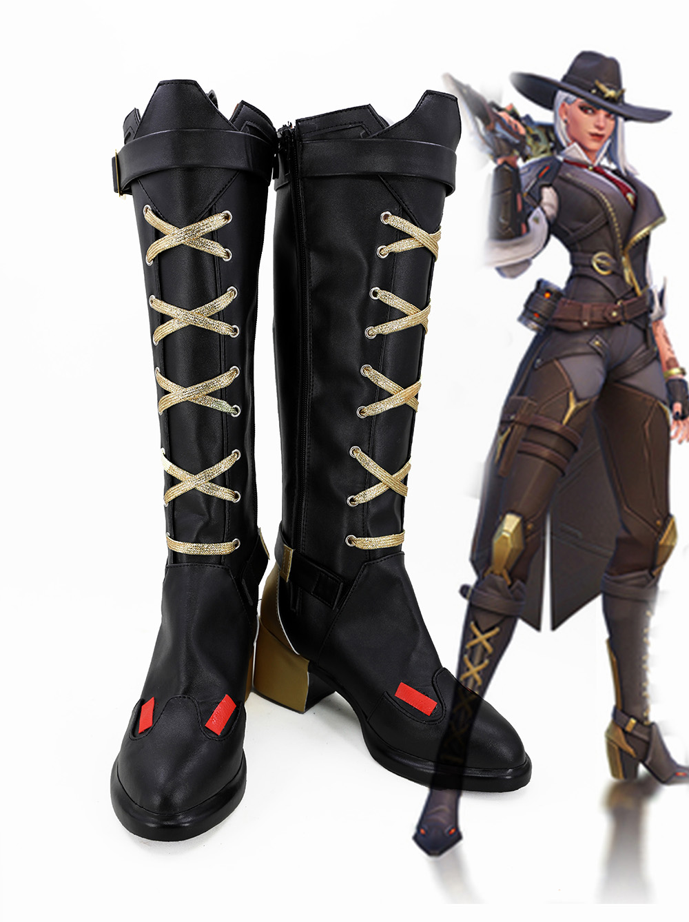 OW Ashe Elizabeth Caledonia Calamity Cosplay Boots Shoes Custom Made