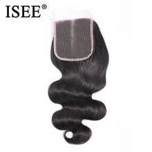 ISEE HAIR Peruvian Body Wave Closure 100% Remy Human Hair Lace Closure Middle Part Hand Tied  4*4 Free Shipping Nature Color