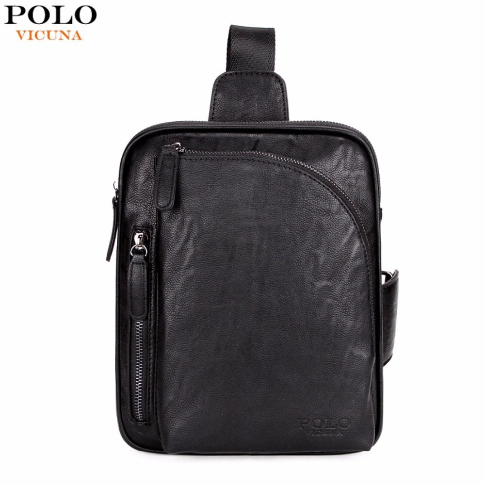 0fa976abdf VICUNA POLO Square Design Black Mens Sling Bag For iPad Brand Mens  Crossbody Shoulder Bag Casual Messenger Bags Chest Bag