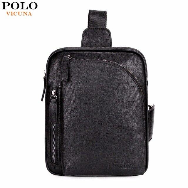 Vicuna Polo Square Design Black Mens Sling Bag For Ipad Brand Crossbody Shoulder Casual