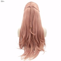 Sylvia Nature Look Rose Gold Braided Box Braids Synthetic Lace Front Wig Mixed Pink Straight Heat