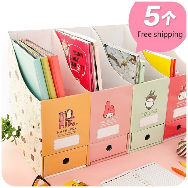 Lovely Paper Desktop Storage Box Korea Creative Office File Shelf Bookcase  Desk Storage Boxes