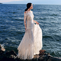 MX076 New Arrival Spring and Summer 2016 women elegant vintage off shoulder long sleeve maxi pearls embroidered white lace dress