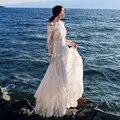 MX076 Nueva Llegada la Primavera y el Verano 2016 de las mujeres elegantes de la vendimia del hombro de manga larga perlas bordados de encaje blanco maxi vestido