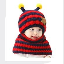 2017 Top Fashion Cute Bee Winter Baby Wool Hat Hooded Scarf Earflap Knit Cap designer scarf golas de inverno halstuch echarpe