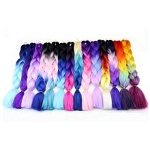 Fashion Three Tone Color Crochet Hair Extensions Kanekalon Hair Synthetic Crochet Braids Ombre Jumbo Braiding Hair Extensions