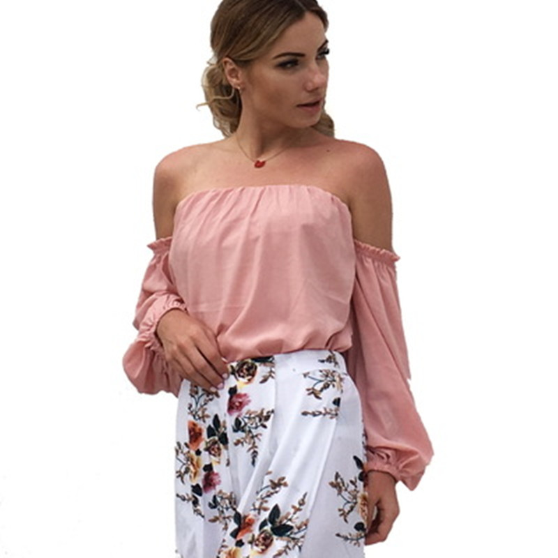 Casual Off Shoulder Women Summer Blouse Sexy Slash Neck  Chiffon Ladies Top Solid Color Short Women Blouse