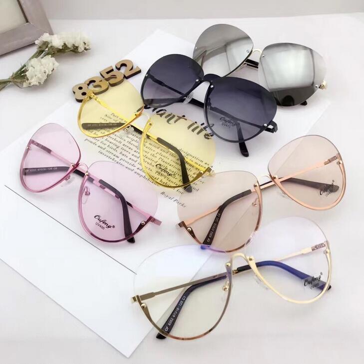 2017 rimless new cat eye wanita sunglasses mode transparan merek - Aksesori pakaian - Foto 6
