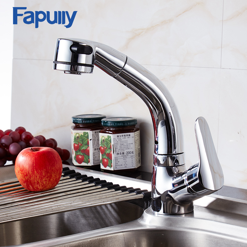Fapully Pull Out Kitchen Faucet Mixer Tap Chrome Flexible Single Handle Spray Head  Deck Mounted Brass Sink Faucet 505-33C