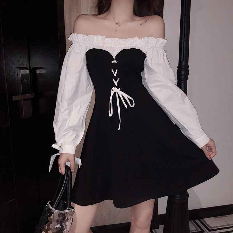 2018 秋の新女性ロリータフリルオフショルダーボウパフスリーブレーススリムドレスの女性ヴィンテージパーティーミニドレス vestidos