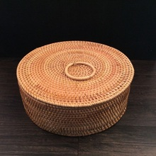 Hand-woven rattan basket Rattan storage  fruit dried candy snack tray separate box