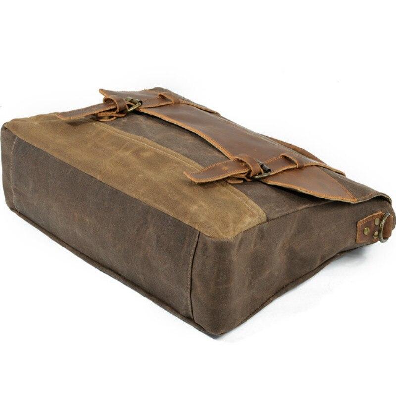 2018 rétro hommes porte-documents ordinateur portable affaires Messenger épaule sac à bandoulière en cuir véritable toile Document de voyage sac pratique - 6
