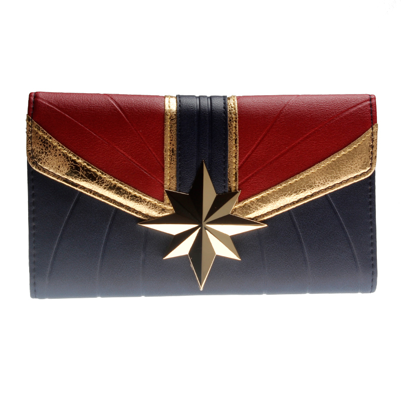 Captain Marvel Tri-Fold Wallet Women Purse Wonder Woman DFT-6037(China)