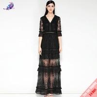 Модные дизайнерские взлетно посадочной полосы черный вечерние платье Для Женщин Половина рукавом V Средства ухода за кожей Шеи Винтаж Круж