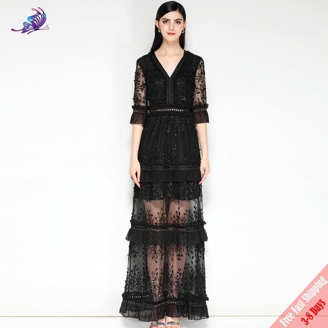 affda490f59f8 Fashion Designer Runway Black Party Dress Women s Half Sleeve V Neck  Vintage Lace Patchwork White Maxi Long Dress Free DHL