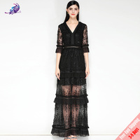 Fashion Designer Runway Black Party Dress Women's Half Sleeve V Neck Vintage Lace Patchwork White Maxi Long Dress Free DHL