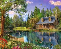 Diamond Embroidery Landscapes Lakeside Huts DIY 5d Dimond Painting Beading Embroidery Kits Mosaic Drawings Coloring By